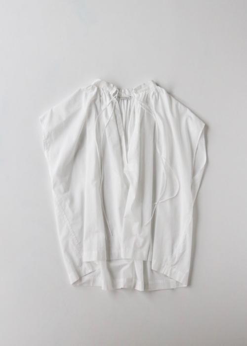No sleeve string gather blouse short