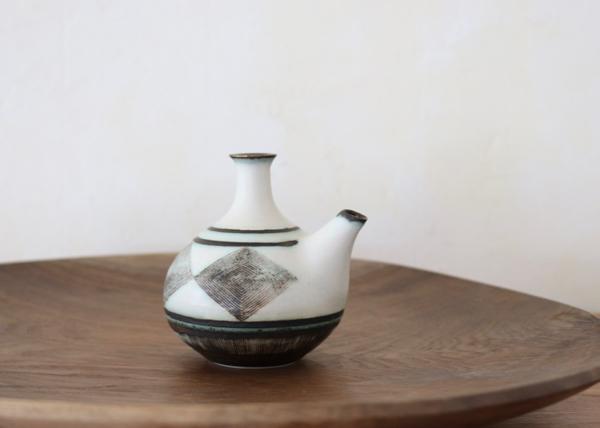 菱文豆花器(口付)薄荷色