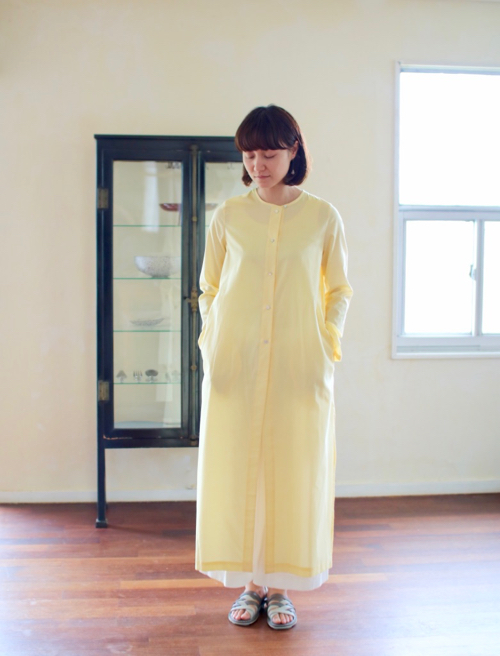 humoresque coat dress - lemon - ユーモレスク 通販 ドレス ワンピース 羽織