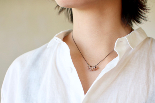 Turtle Forest  Peach Moonstone silver ネックレス