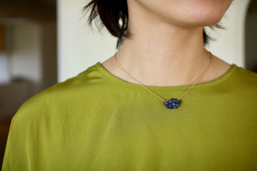 Turtle Forest タートルフォレスト  ジュエリー アクセサリー jewelry  カイヤナイト Kyanite, Vintage Glass , Gold Filled Chain
