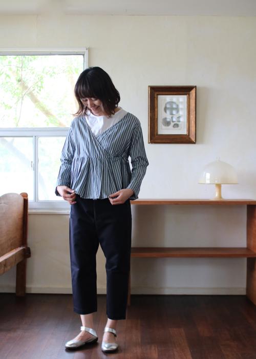 TOUJOURS Wide Pleat Cache Coeur blouse Shoka: 通販