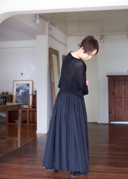 humoresque  random tuck skirt -black-