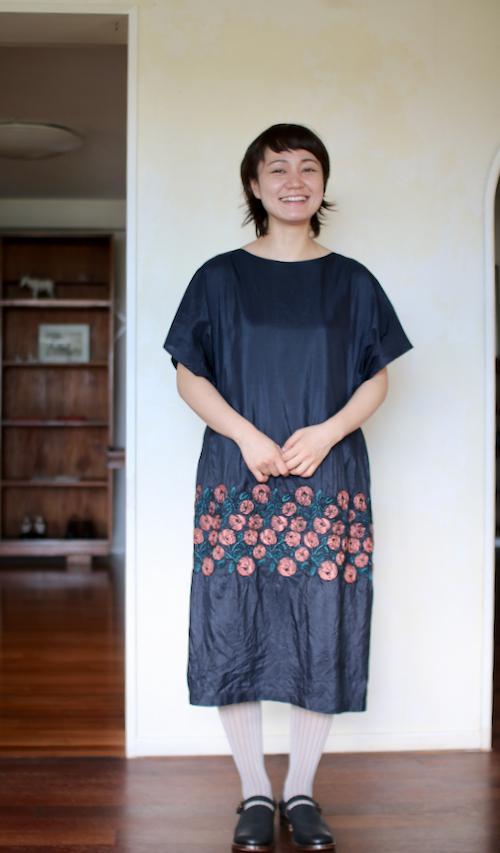 ミナ ペルホネン rosy ドレス  navy  シルク silk ワンピース