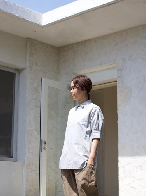 TOUJOURS  Half Sleeve Shirt white porcelain