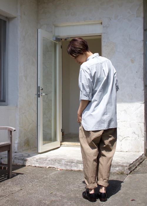 TOUJOURS  Half Sleeve Shirt -white porcelain-