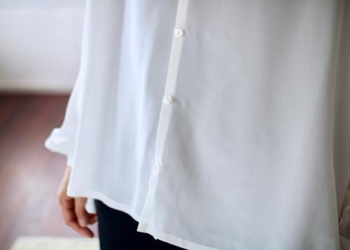 humoresque gather blouse silk white