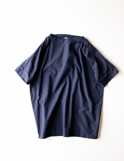 ARTS&SCIENCE  Stand collar box shirt OOP long -navy-