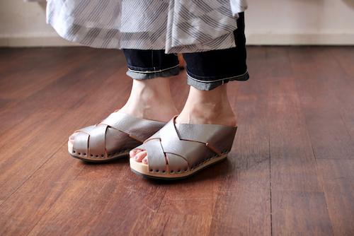 trippen Twist silver トリッペン 靴 レザー  ウッド サンダル 通販