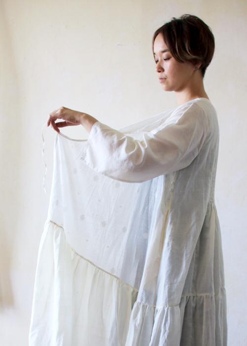 maku textiles  シルクコットンジャムダニ サマーラップドレス