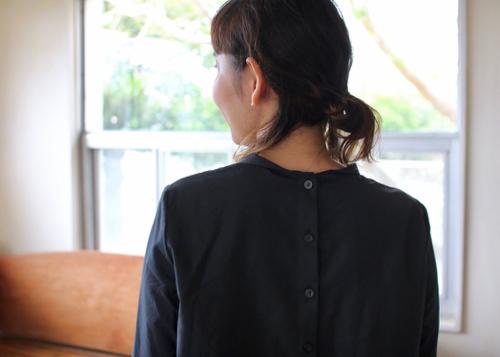 humoresque pin tuck blouse black