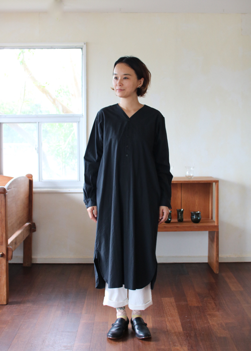TOUJOURS Collarless shirt dress Shoka: 通販