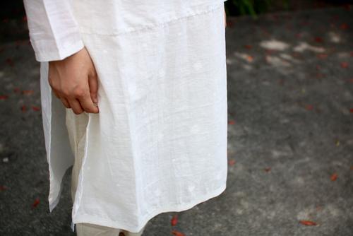 maku textiles  シルクコットンジャムダニ ピンタック ドレス 藍染め