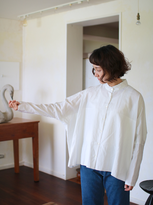 humoresque  stand collar blouse       - smoke white -    通販 ユーモレスク  シャツ