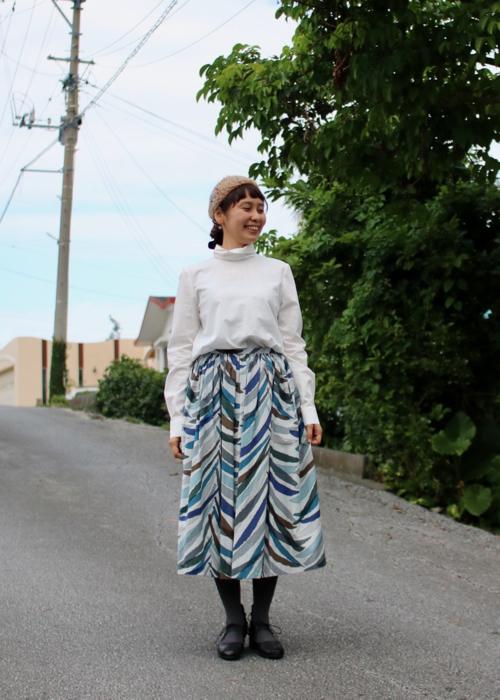 ミナ ペルホネンランドリー carnivaltreeスカート blue mix