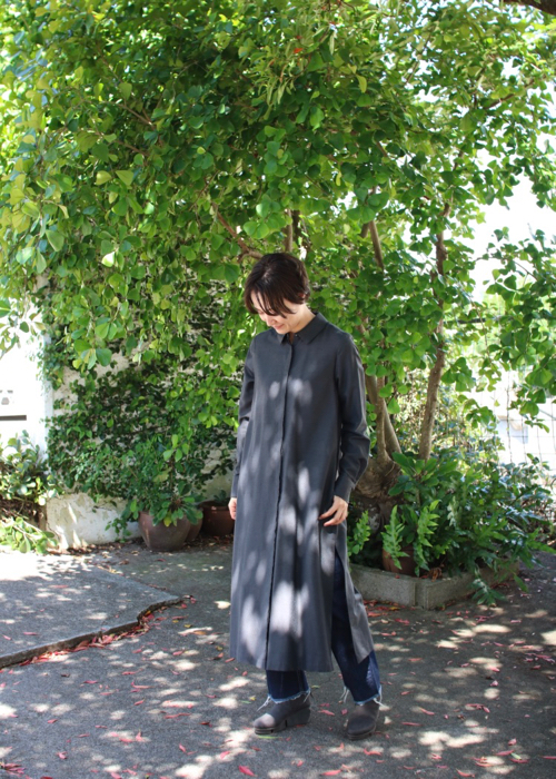 Shirt dress - gray -
