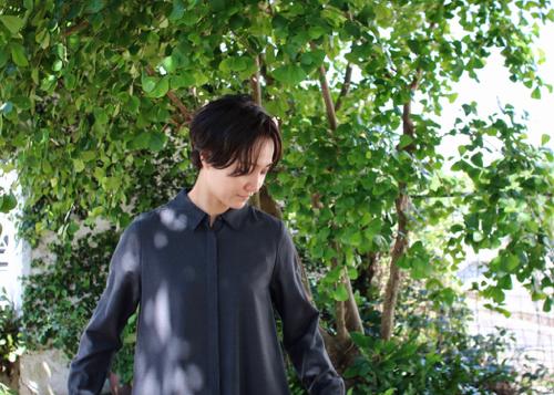 Shirt dress - gray -